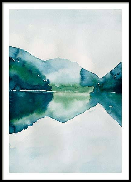 Watercolor mountain reflection Plakat i gruppen Plakater / Størrelser / 50x70cm hos Desenio AB (10123)