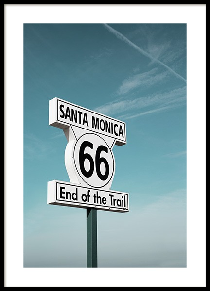 Route 66 Sign Plakat i gruppen Studio Collections / Studio Coast to Coast / Los Angeles hos Desenio AB (10778)