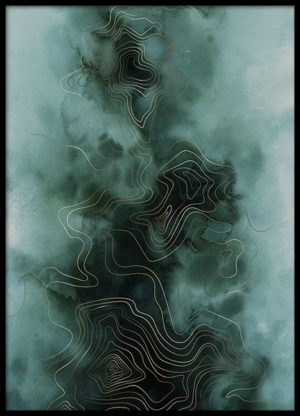 Abstract Map Green Plakat i gruppen Plakater / Kunstmotiv hos Desenio AB (11017)