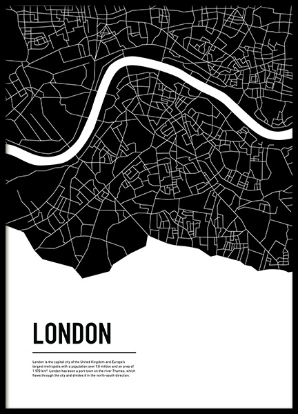 Graphic City Map London Plakat i gruppen Plakater / Kart og byer  hos Desenio AB (11936)