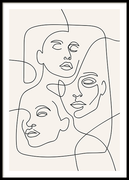 The Three Faces Line Art Plakat i gruppen Plakater / Illustrasjoner hos Desenio AB (12506)