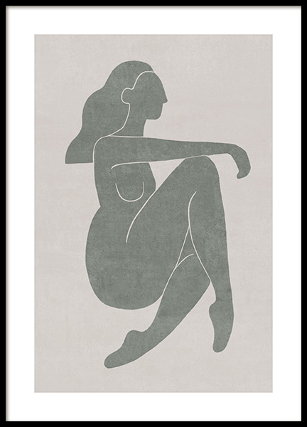 Seated Pose Green No2 Plakat i gruppen Plakater / Illustrasjoner hos Desenio AB (13800)