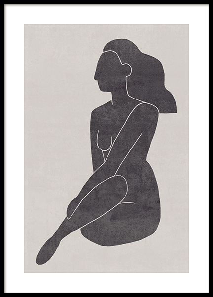 Seated Pose Black No2 Plakat i gruppen Plakater / Illustrasjoner hos Desenio AB (13802)