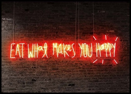 Neon - Eat What Makes You Happy Plakat i gruppen Plakater / Fotokunst hos Desenio AB (2096)