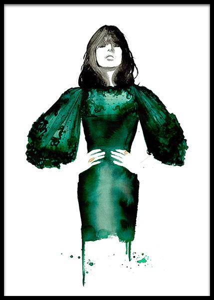 The Emerald Dress Plakat i gruppen Plakater / Illustrasjoner hos Desenio AB (2145)