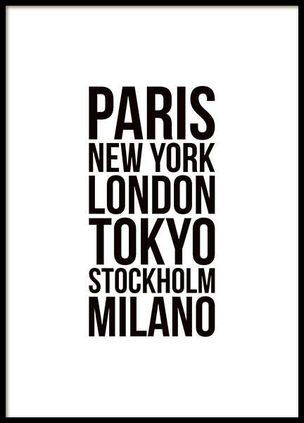 Poster med fashion week-byer, Paris, Milano, London og New York