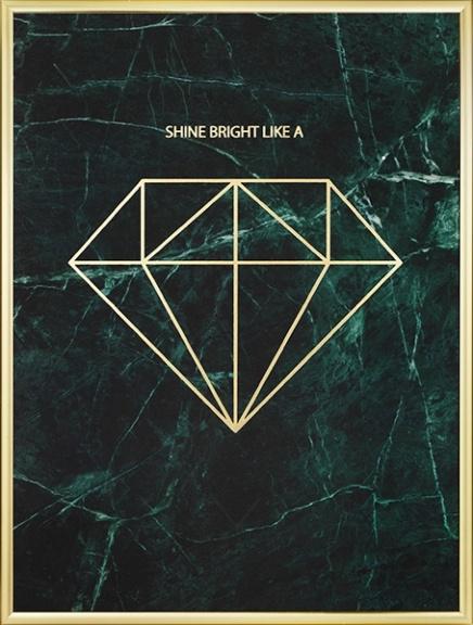 Plakat Med Diamant I Gull P 229 Marmor Plakater