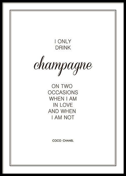 Plakat I only drink champagne Chanel
