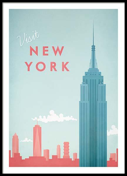 New York Travel Plakat i gruppen Plakater / Handpicked / Henry Rivers hos Desenio AB (pre0011)