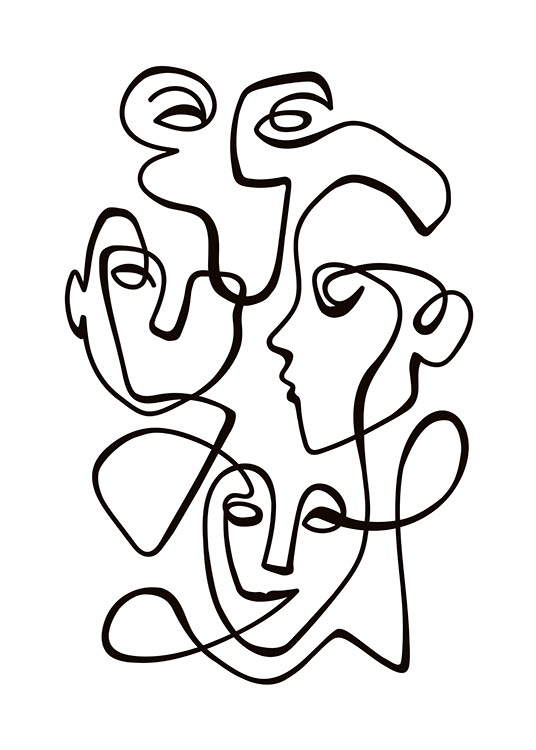 Abstract Line People No2 Plakat / Svarthvitt hos Desenio AB (10841)