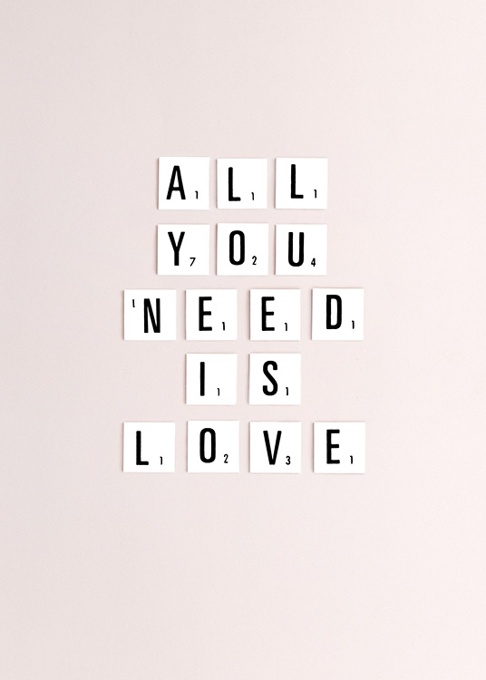 All You Need Is Love Plakat / Tekstplakater hos Desenio AB (10862)