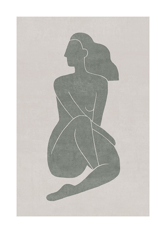 Seated Pose Green No1 Plakat / Illustrasjoner hos Desenio AB (13799)