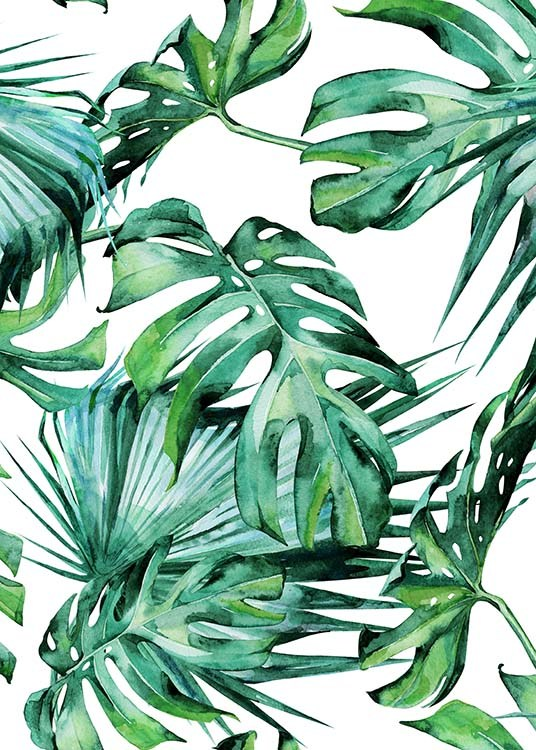 Tropical Leaves Pattern Plakat / Kunstmotiv hos Desenio AB (2287)