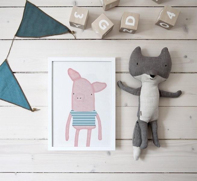 Plakat til barnerom. poster med gris