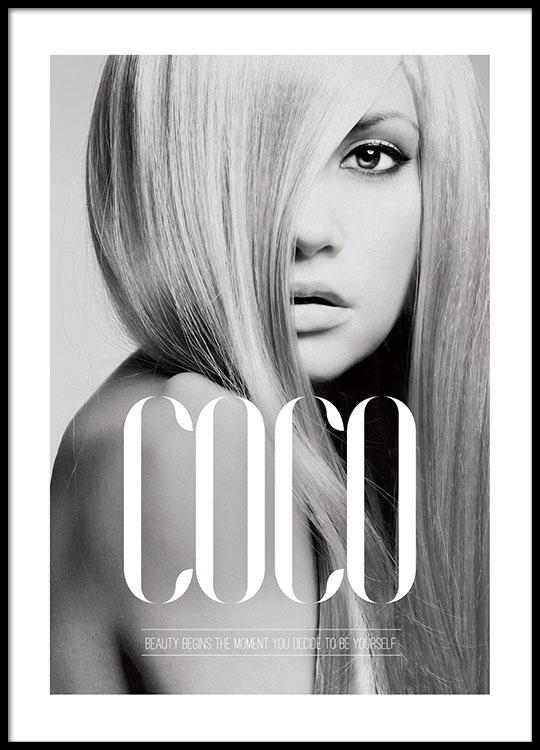 coco beauty begins plakat med svarthvitt foto poster med sitat. Black Bedroom Furniture Sets. Home Design Ideas