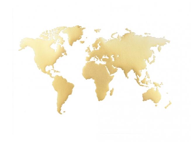 Verdenskart Plakat Plakater Med Gull Desenio