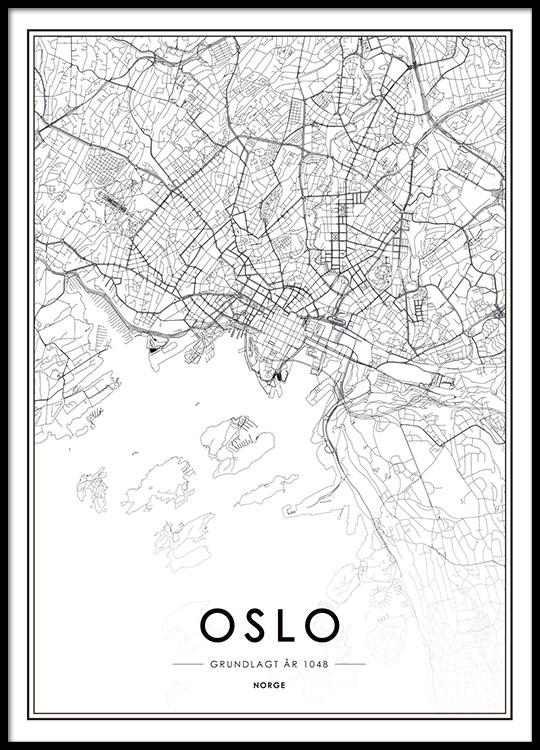 kart plakat Oslo plakat med kart | Svarthvitt plakat med Oslokart | Kjøp  kart plakat