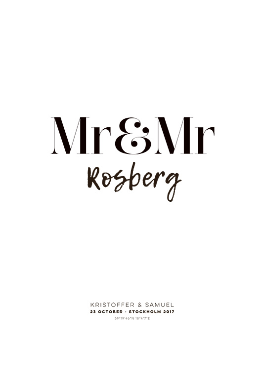 Mr and Mr Personal Plakat / Personlige posters hos Desenio AB (pp0013)