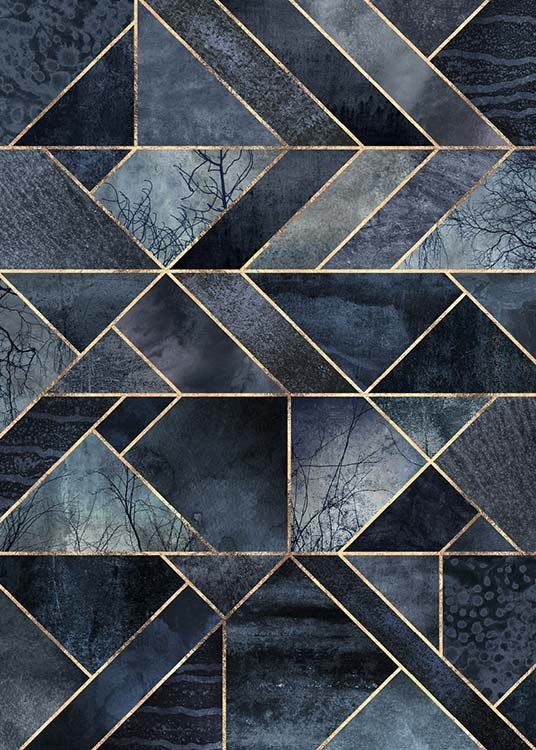 Abstract Nature - Dark Blue Plakat / Kunstmotiv hos Desenio AB (pre0019)