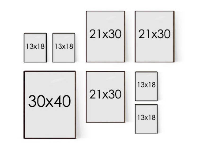 Tavelcollage till små väggar och rum